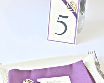 Purple Table number with wooden flower, Table numbers, wedding table numbers, flower table numbers, purple table number, Purple wedding deco