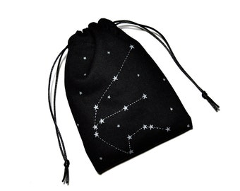 Choose your constellation. Handpainted drawstring bag. Witch, wicca, magic, tarot. Stars. Metallic paint. Space, galaxy. Astronomy. Pouch.