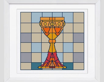 Chalice  cross stitch pattern, counted cross stitch pattern, modern cross stitch pattern, Chalice cross stitch pdf pattern
