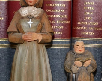Vintage Hand-Carved and Hand-Painted Nun and Priest Monk Religious Figurines