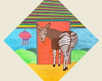 8.5x11 Print: Okapi
