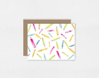 Birthday Candles Greeting Card | Watercolor Art Print | Colorful Candles | 5x7