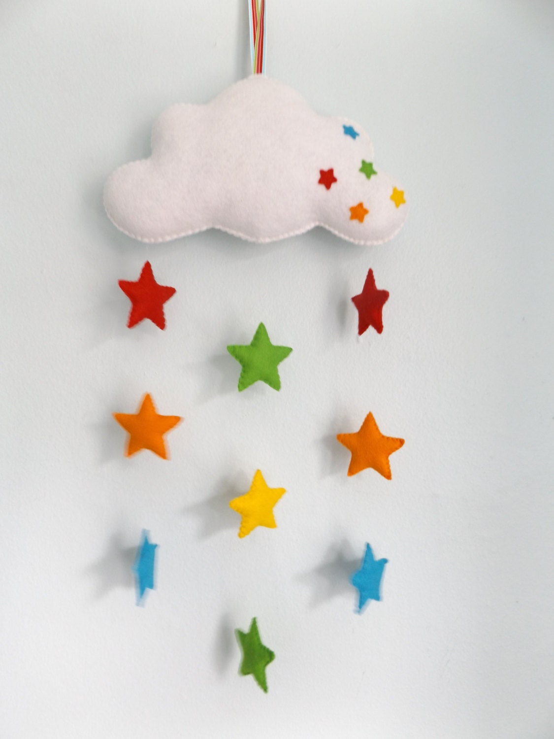Classroom Decoration Hanging ~ Handmade felt baby mobile cloud and rainbow stars by