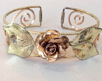 Krementz Gold Overlay Bangle Cuff Bracelet