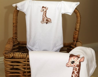 Baby Onesie and Blanket Gift Set (1 Onesie, 1 Blanket)