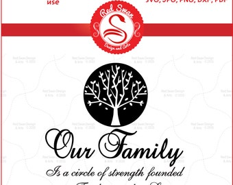 Our Family is a Circle of Strength Cutting File – SVG, DFX, PDF, png, jpg Personal & Commercial Use, Family Clipart, Family Sayings Wall Art