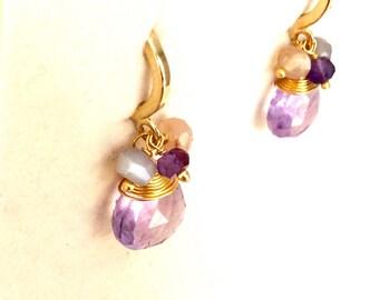Genuine amethyst drop earrings/ Natural gemstone earrings/ 18K gold plated earrings/ Small drop earrings/ Classic earrings/ Earrings gift