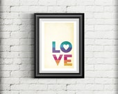LOVE Giclee Art Print, Love Poster, Modern Retro Love Print