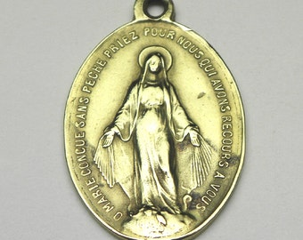 Antique French Brass Miraculous Medal Holy Medal, Catholic Medal