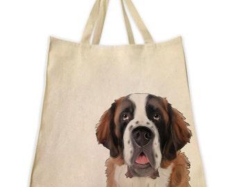 Pet Gifts, Canvas Tote Bag, St. Bernard, Dog Gifts, Dog Tote, Shoulder Tote Bag, Handmade Tote Bag, Handbag, Reusable Bag, Custom Pet Gift