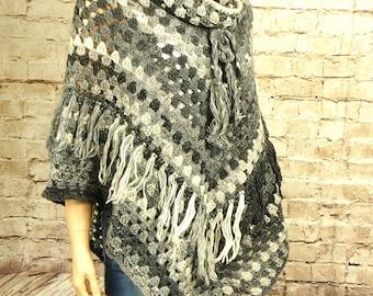 Crochet poncho, wool poncho, women's poncho, grey poncho, handmade crochet poncho, bohemian poncho, gift for her , Christmas gift