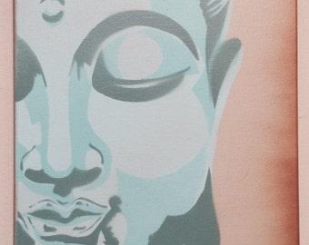 Buddha Stencil, Stencil, spray paint, pop art, graffiti, urban, multicolored, handmade, street art, wall art. By Rebecca Rohrer