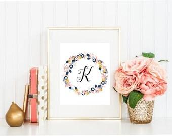 Letter K, Wall Art, Printable Art, Monogram Art, Printable Print, Instant Download, LivingRoom Art, Floral wreath, Downloadable, Nursery Art