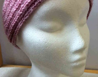 Lady's Hand-knitted Pink Mist Headband Earwarmer~One size