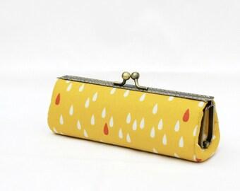 Yellow Raindrop Eye Glasses Case / Glasses Pouch / Kiss Lock Frame Purse / Snap Purse