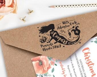 "Mermaid address stamp, Return address, Wooden stamp, Rubber stamp, Personalized stamp, 2.5"" x 1.5"", WS471007"
