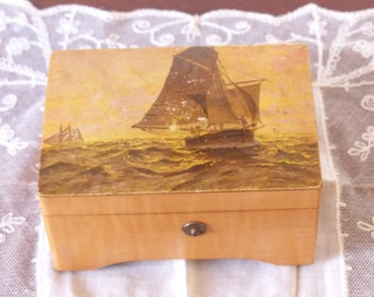 THORENS SWISS MOVEMENT Wooden Music Box with Majestic Sailing Ships from early 1920's plays Two Wedding Songs:  Bridal Chorus and La Paloma