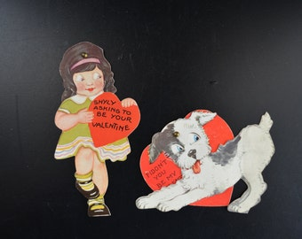 Vintage Mechanical Valentine Cards Pair Little Girl and Dog