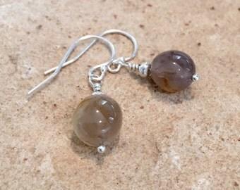 Gray drop earrings, agate gemstone earrings, Hill Tribe silver earrings, sundance style earrings, dangle earrings, gift for her