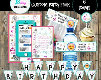 Emoji Teen Tween Cell Phone Birthday; Invite; Invitation; Water Bottle Label; Treat Bag; Cupcake Topper; Emoji Party Pack; Banner