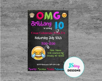 OMG; Cell phone Emoji Tween Teen Birthday Invitation; Cellphone; Invitation; Emoji Invite; Tween Birthday; text; #; hashtag; sleepover