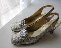 Vintage 1950's / 1960's Mod Lucy Sparkly White / Silver High Heels // Wedding Heels