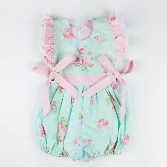 Items similar to Vintage Baby Romper Girl Vintage Outfit