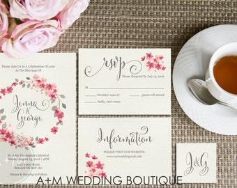 Wedding Invitation set, Floral Wreath Watercolour Watercolor,  Printable Invitations: JENNA COLLECTION