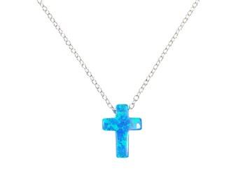 Opal Cross Pendant 925 Sterling Silver Necklace