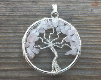 ROSE QUARTZ Tree Of Life Wire Wrapped Pendant Stone Natural Gemstone
