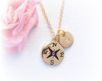 Gold Compass Necklace Personalized, Compass Initial Necklace Gold, Enjoy the Journey, compass necklace, GFINCOM4