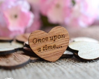 """100 Once upon a time... Wood Hearts 1"""" - Rustic Wedding Decor - Table Confetti - Wooden Hearts - Wedding Invitations"""