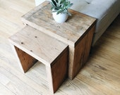 Nesting End Tables (2), Chunky Reclaimed Wood, Salvaged Industrial Plywood Stools, Mid Century Modern, Soho