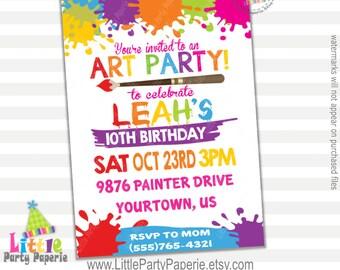 Art Party Invitation | Girl Birthday Invitation | Digital | Printable | Design 16033