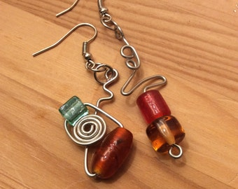 Abstract Mix-Match Wire Wrap Earrings