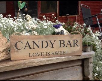 Handmade Rustic Candy Bar Sign Barn Wedding Table Decor