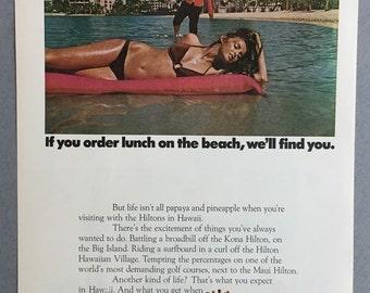 1970 Hilton Hotels Print Ad - Hilton Hawaiian Village - Hawaii - Beach