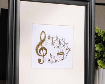 Gold Foil Music Staff Notes Wall Art Print - Matted to 8x10