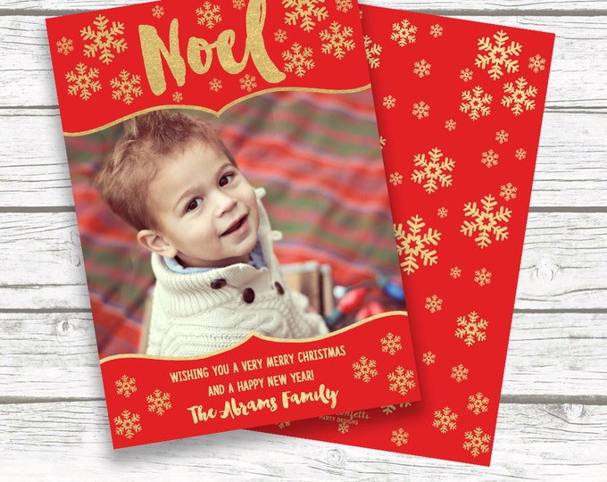 Christmas Photo Card, Noel Christmas Card, Red and Gold Christmas Photo Card, Holiday Photo Card, Snowflake Christmas Card