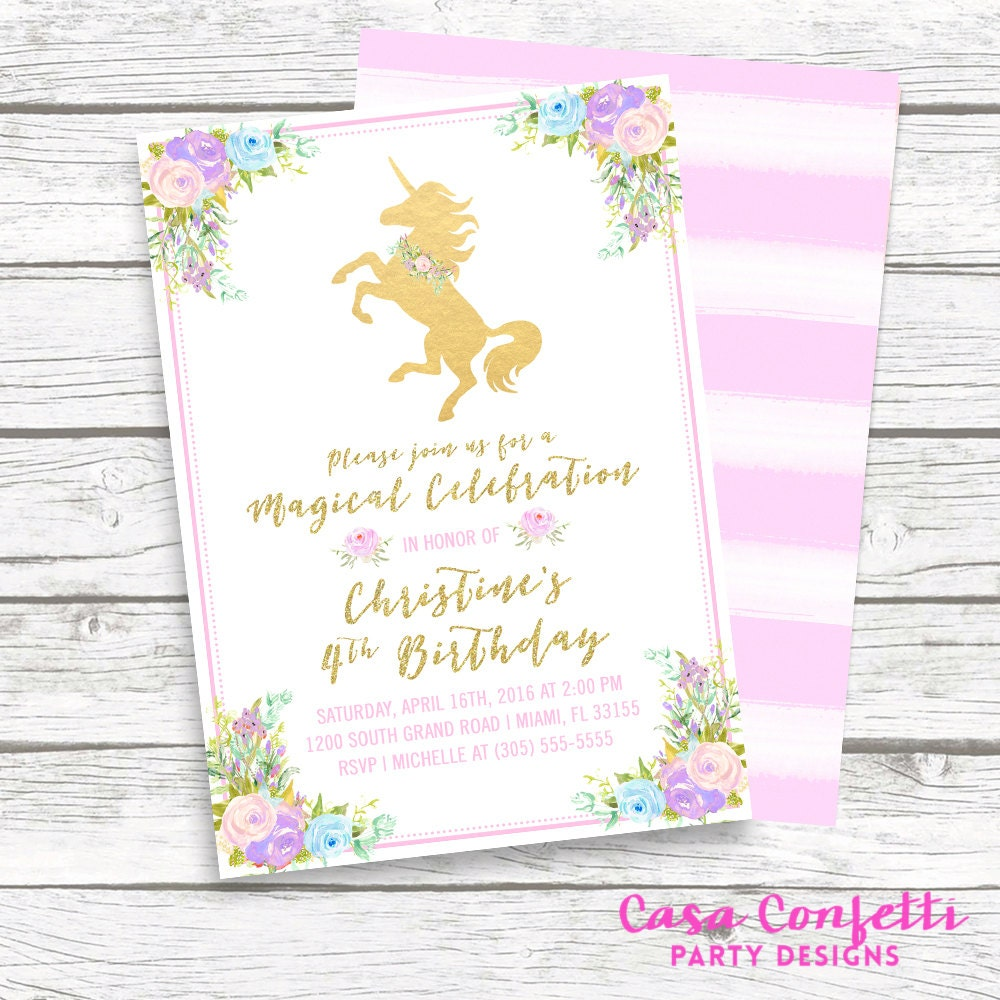 Unicorn Invitation Unicorn Birthday Invitation Girl 1st – Unicorn Birthday Party Invitations