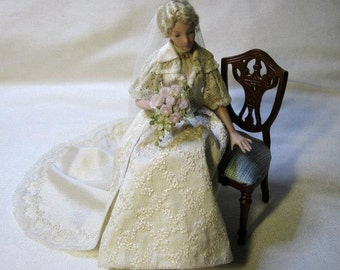 "Handmade Porcelain Bride "" Blanca "" 1:12 scale"