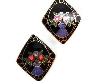 Enamel Design Earrings