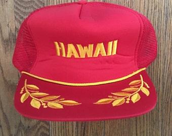 Vintage 80's Hawaii Leaf Captain Brim Vacation Tourist Travel Trucker Hat Snapback Baseball Cap