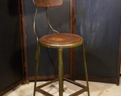 Vintage Industrial Steel Drafting / Architect Chair  by Hallowell MFG.