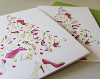 "Fashion Couture Christmas Cards, Fashion Illustration Stationery Set for Holiday Party ""Shoe Tree"", Samantha Burns, Samantha Illustration"
