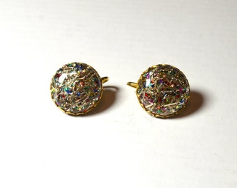 Vintage Sarah Coventry Clip On Earrings Signed . New Year Glitter Celebration Clip On  Earrings,  Lucite earrings