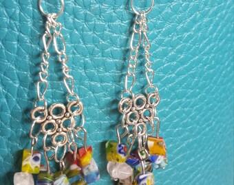 Millefiori Glass Bead Chandelier Earrings