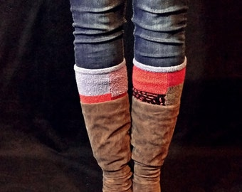 Geometric Multicolor MishMash of Awesomeness Upcycled Sweater Boot Toppers, Boot Cuffs, Ankle Cuffs