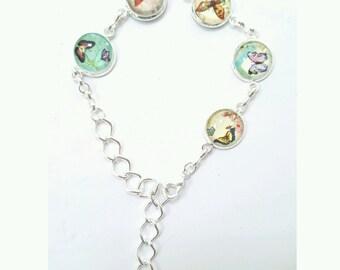 butterfly bracelet, glass butterfly bracelet, cabochon bracelet, butterfly jewelry, gift for her, extendable butterfly bracelet