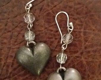 Silver heart beaded earrings